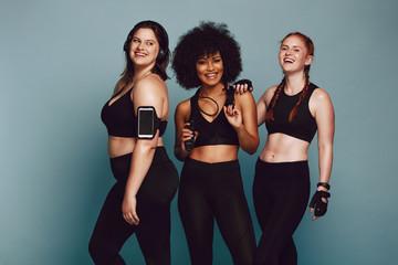 Diverse group women in sportswear