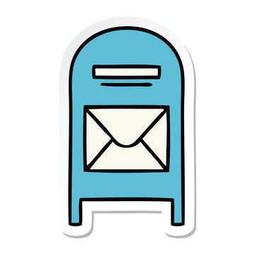sticker of a cute cartoon mail box