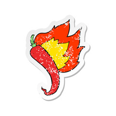 retro distressed sticker of a cartoon flaming hot chilli pepper
