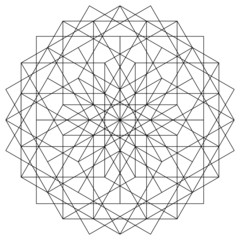 Diamond Sacred Geometry Mandala Energy Field Made of Squares and the Numerology of 12