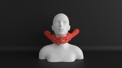 White female mannequin head with red hands on throat. Neck or throat pain concept. Violence illustration. Minimalist abstract 3d render.
