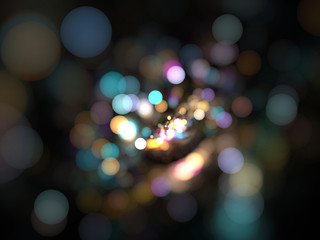 Abstract Illustration - Glowing Bokeh Spots, soft shapes blurred background. Magical fantasy background image, vibrant transparent glowing shapes. Colored circles, digital modern artwork, randomness