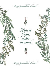 Wedding invitation frame set, leaves, watercolor, isolated on white. Sketched wreath, floral and herbs garland with green, greenery color. Hand drawn Watercolor style, nature art.