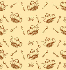 Vector Hand drawn sketch of tea pattern seamless pattern illustration on white background