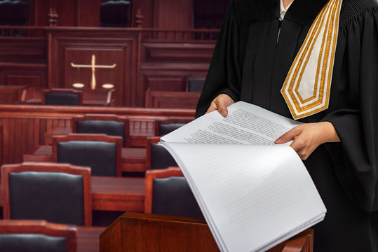 Female lawyers in the courtroom of justice