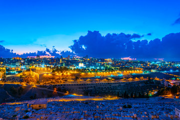 Sunset view of Jerusalem from the mount of olives, Israel