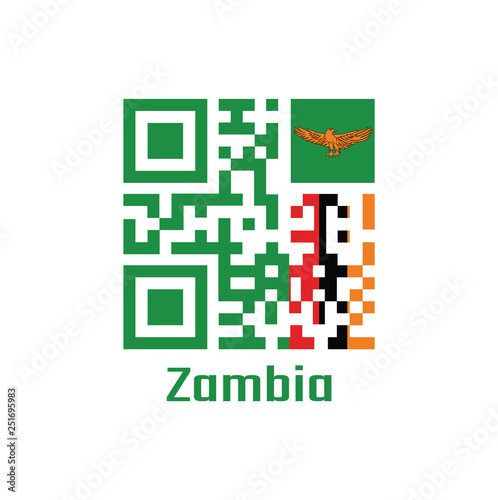 QR code set the color of Zambia flag  A green field with an