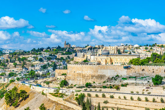 Al Aqsa mosque and the Franciscan monastery of dormition in Jerusalem, Israel