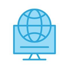 Vector Globe Internet Web Online Monitor Icon