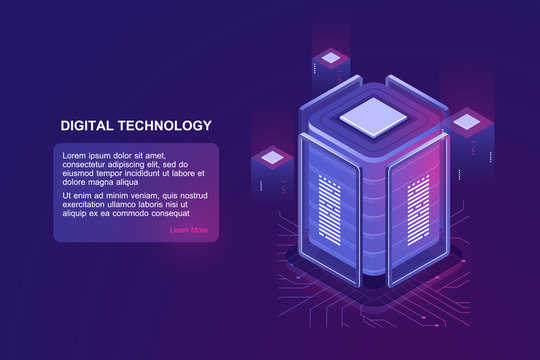Blockchain technology isometric icon, server room and database, data warehouse and cloud computing concept ultraviolet landing web page vector