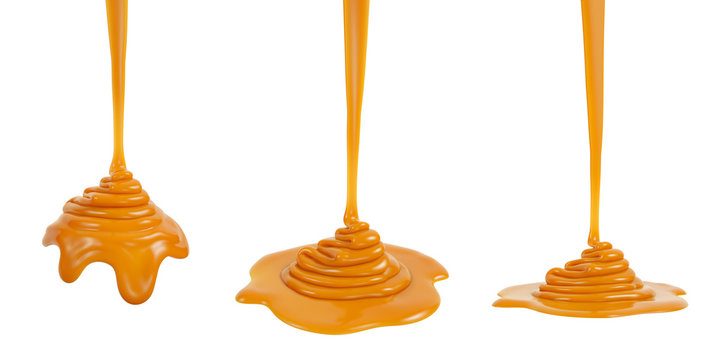 3D rendering of melted caramel or syrup pouring and folding on sphere form and ground plane, isolated on white - Illustration