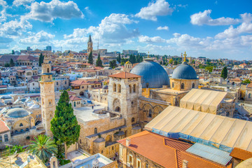 Cityspace of Jerusalem with church of holy sepulchre, Israel Wall mural