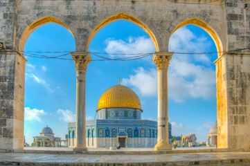 Famous dome of the rock situated on the temple mound in Jerusalem, Israel Wall mural