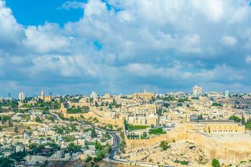 Keuken foto achterwand Olijf Al Aqsa mosque and the Franciscan monastery of dormition in Jerusalem, Israel
