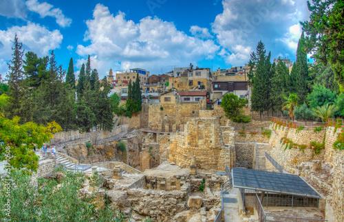 Ruins of pools of Bethesda in Jerusalem, Israel