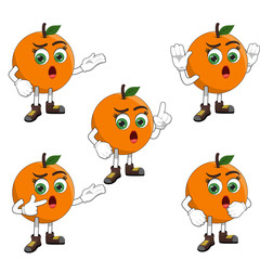 Confuse Orange Female Cartoon Character