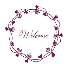 Vector illustration welcome lettering with rose red flower frame hand drawn