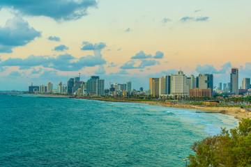 Sunset view of cityscape of Tel Aviv, Israel