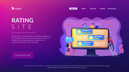 Rating site concept landing page.