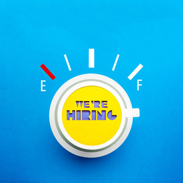 We are hiring message on coffee poster advertisement with full power concept