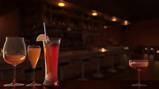 カクテル ラウンジ バー Glasses Cocktail Night Lounge Bar