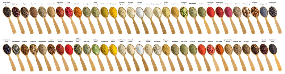 Fototapete - Spices and herbs for cooking delicious food. Collection seasoning is poured into wooden spoon. Flavoring isolated on white background.