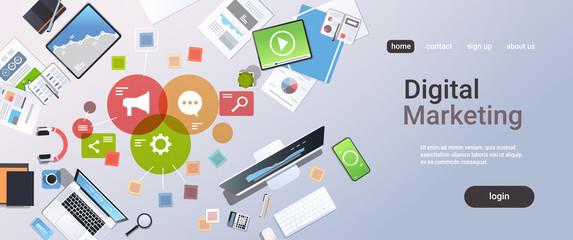 social media digital marketing concept top angle view workplace desktop office stuff horizontal copy space