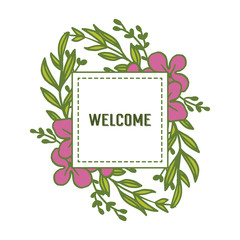Vector illustation welcome card with series of beautiful pink flower frames hand drawn
