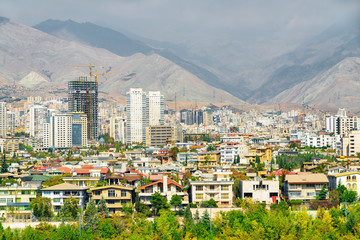 Amazing view of Tehran, Iran. Colorful residential buildings
