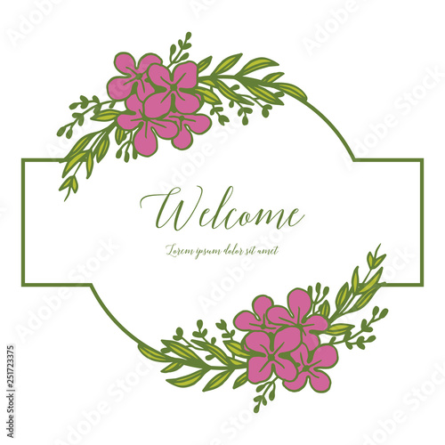 Vector illustration various forms of flower frames for welcome invitation hand drawn