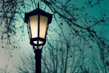 street lamp at sunset