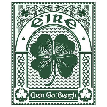 Irish Celtic design, Celtic-style clover and slogan Erin Go Bragh, illustration on the theme of St. Patricks day celebration
