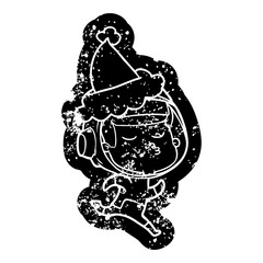 cartoon distressed icon of a confident astronaut wearing santa hat