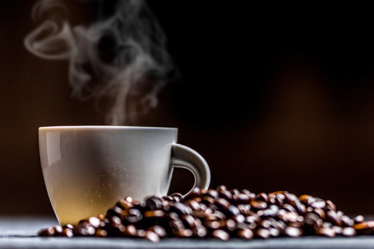 Cup of coffee with smoke