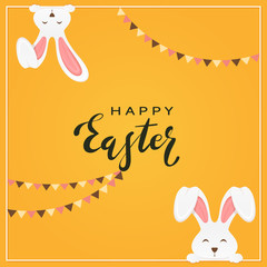 Easter Rabbits with Pennants on Orange Background