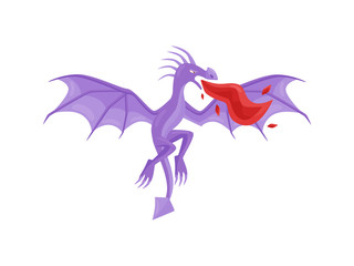 Purple dragon in flying action with wide open wings breathing fire. Mythical creature. Fantastic monster. Flat vector