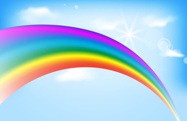 Rainbow on blue sunny sky vector design