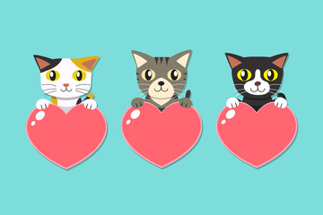 Set of cartoon cats with heart signs for design.