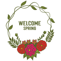 Vector illustration leaf floral frame circular blooms for card welcome hand drawn
