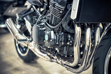Beautiful view of the motorcycle with an emphasis on the engine.