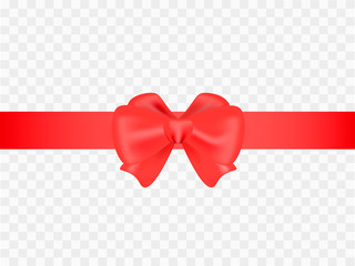 Red tape with bow on transparent background. Vector illustration