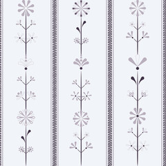 Vector Bright Violet Folklore Flowers in line with borders seamless pattern background. Perfect for fabric, scrapbooking and wallpaper projects.