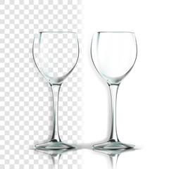 Transparent Glass Vector. Kitchen Design. Empty Clear Glass Cup. For Water, Drink, Wine, Alcohol, Juice, Cocktail. Realistic Shining Glassware Transparency Illustration