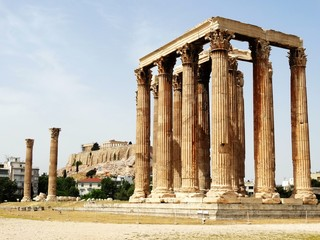 Ancient Greek Temple of Olympian Zeus in Athens, Greece.  Part of remain from ruined Greek temples, representative historical Greek architecture and culture.