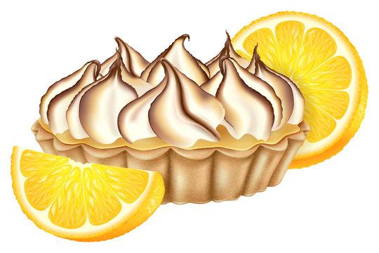 Lemon tart with toasted meringue and fresh lemon. Vector illustration.