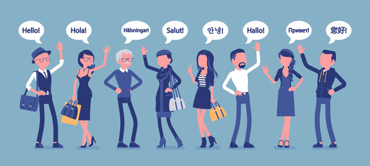 Hello greeting in languages and group of people. Friendly men and women from different countries saying hi, word of recognition, hand sign of welcome. Vector illustration, faceless characters
