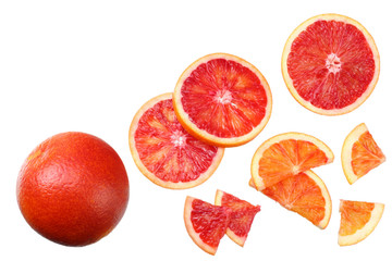 Red blood orange fruit with slices isolated on white background. top view