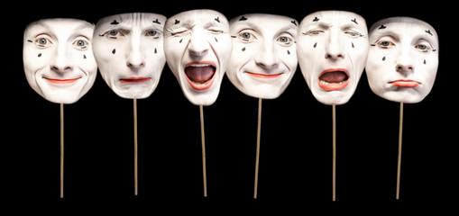 Obraz Masks with different emotions of pantomime on the black background - fototapety do salonu
