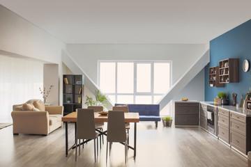Interior of modern studio apartment