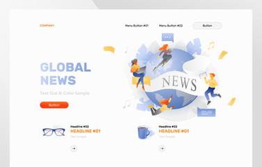 Global News Website Header Template